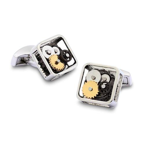 Steampunk Gears Square Rhodium Cufflinks, Novelty Cufflinks, Cuffed.com.au, CL5576, $49.00