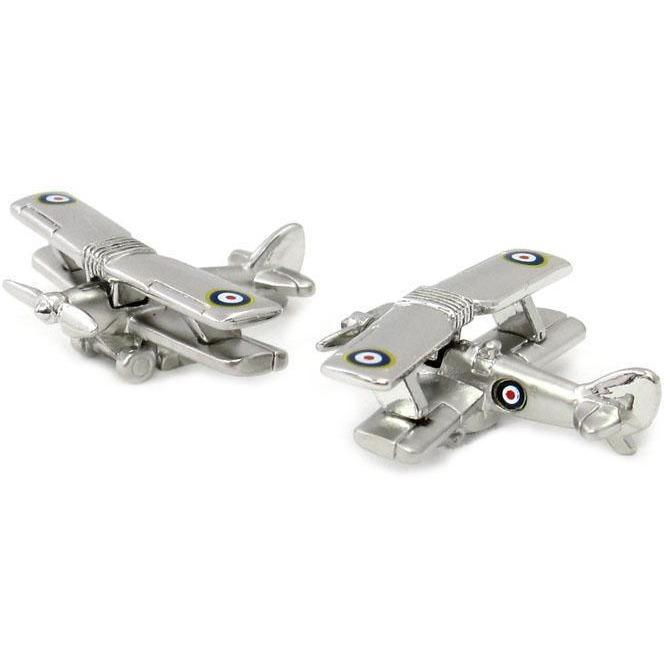 BiPlane Military Aircraft Cufflinks, Novelty Cufflinks, Cuffed.com.au, CL6832, $29.00