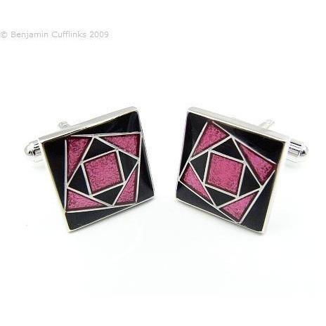 Black    Pink Art Deco Flower Cufflinks GTR