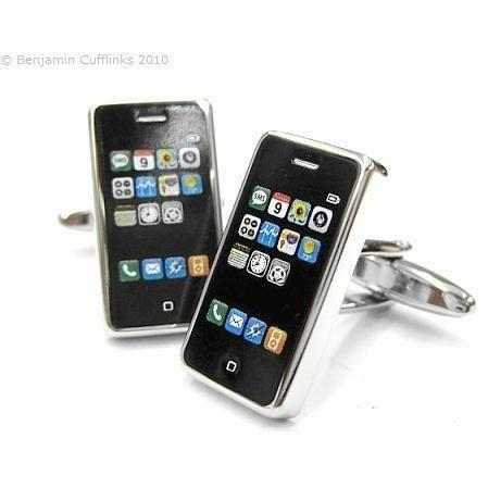 Black Silver Smart Phone Cufflinks, Novelty Cufflinks, ZBC3999, Mens Cufflinks, Cufflinks, Cuffed, Clinks , Clinks Australia