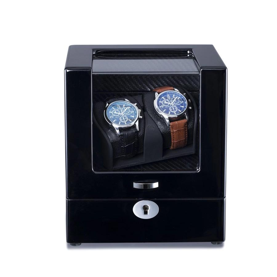 Black Watch Winder Box for 2 Watches (Single Rotor) Watch Winder Boxes Clinks Australia Default