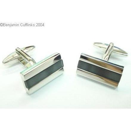 Black-Grey Line Catseye Cufflinks Vios