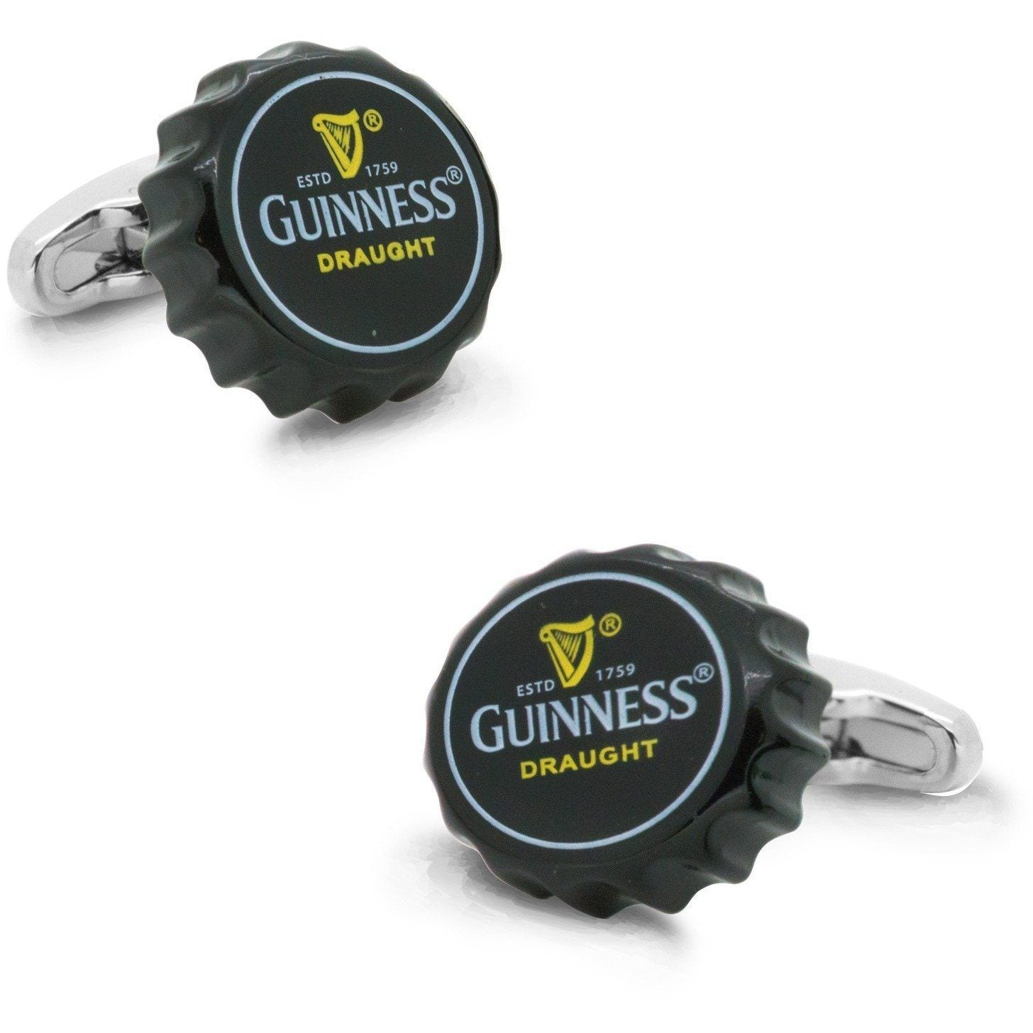Black Guinness Beer Cap Cufflinks, Novelty Cufflinks, Cuffed.com.au, CL6011, $29.00