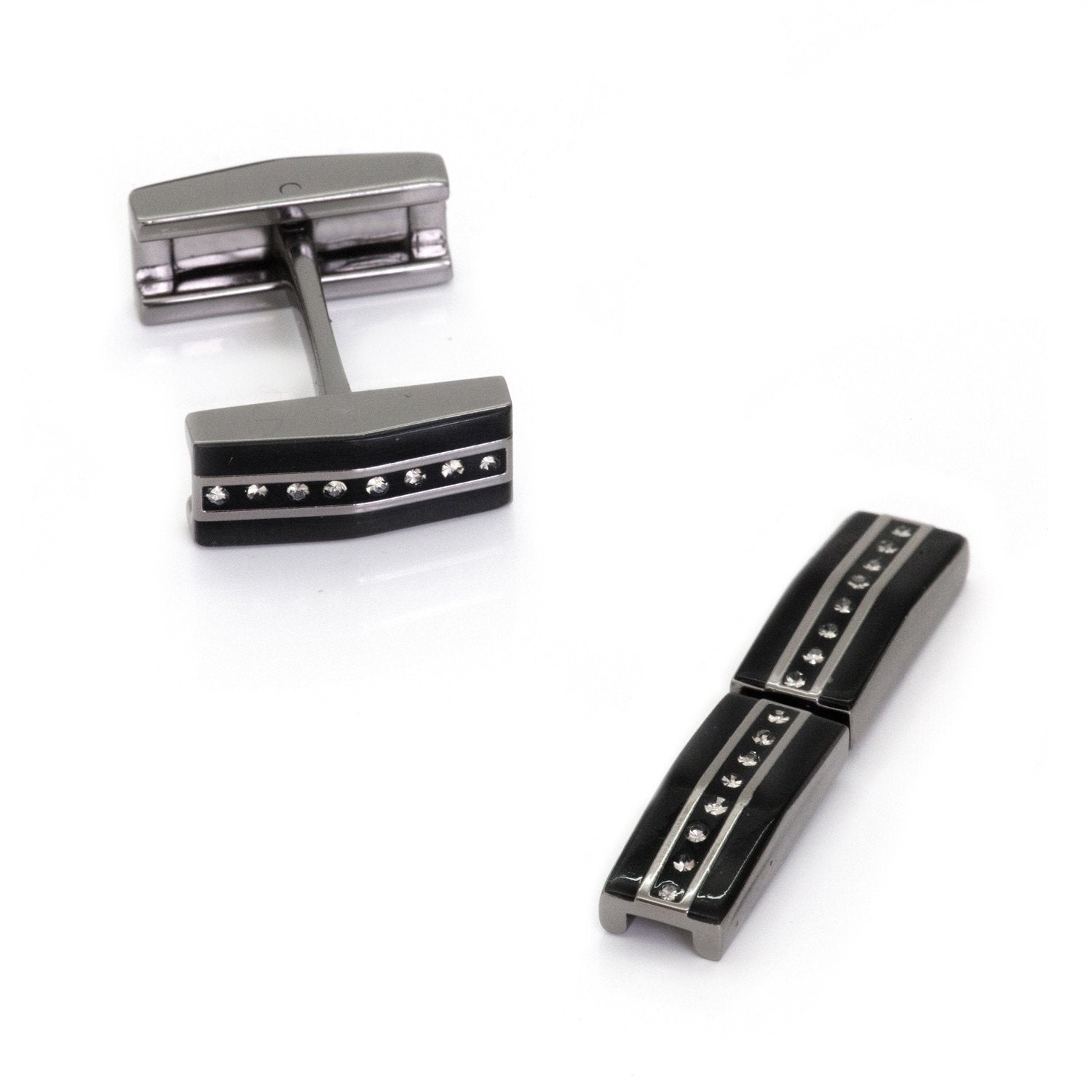 Black Gunmetal and Crystal Fold Flat Cufflinks Classic & Modern Cufflinks Clinks Australia Black, Gunmetal and Crystal Fold Flat Cufflinks