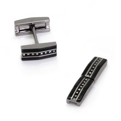 Black, Gunmetal and Crystal Fold Flat Cufflinks Clinks Australia
