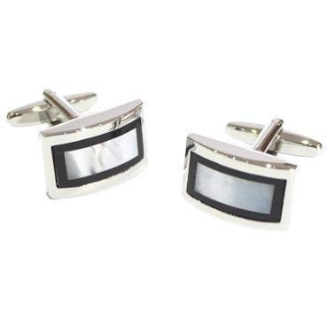 Black & Mother of Pearl style Rectangles Cufflinks, Cuffed.com.au, ZBC1207, $38.50