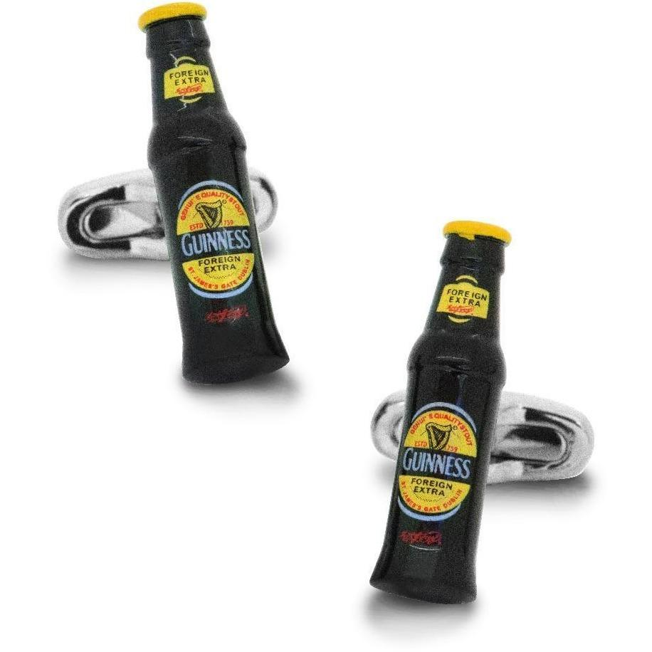 Black & Yellow Beer Bottle Cufflinks, Novelty Cufflinks, Cuffed.com.au, CL6031, $29.00