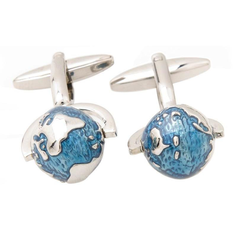 Blue Abstract Spinning Globe Cufflinks, Novelty Cufflinks, Cuffed.com.au, CL8690, $29.00
