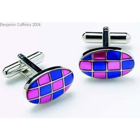Blue and Pink Cufflinks Onyx Art