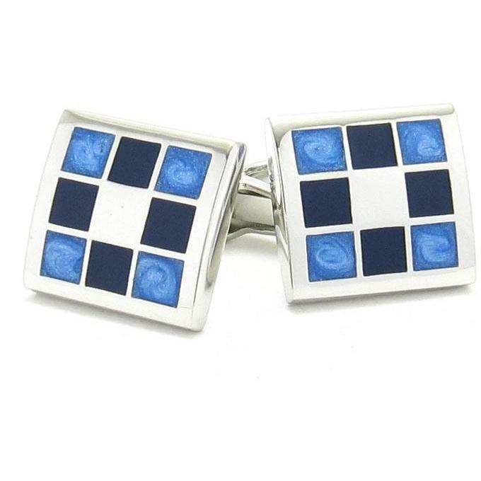 Blue/Black Multi-Square Cufflink, Classic & Modern Cufflinks, Cuffed.com.au, CL2105, Black, Blue, Classic & Modern Cufflinks, Enamel, Clinks Australia