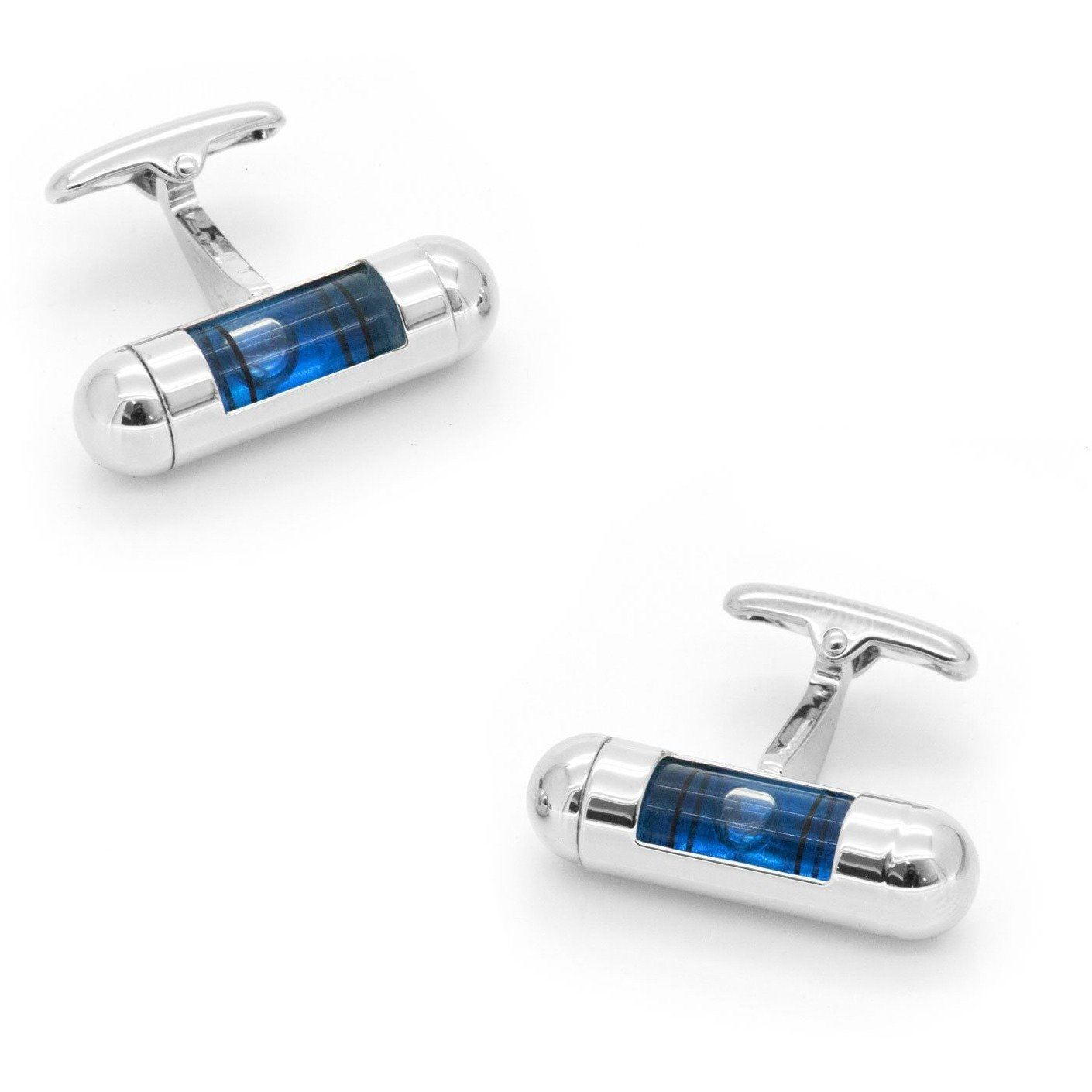 Blue Spirit Level Cufflinks, Novelty Cufflinks, Cuffed.com.au, CL9031, $29.00