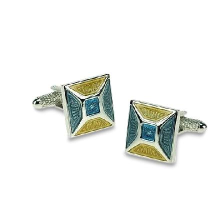 BlueYellow Apex Cufflinks Classic & Modern Cufflinks Clinks Australia Blue Yellow Apex Cufflinks