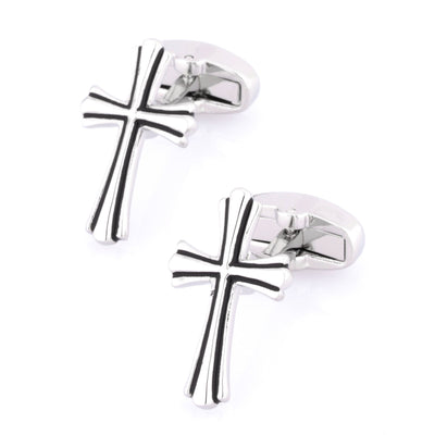 Fleurie Cross Silver & Black Enamel Cufflinks Novelty Cufflinks Clinks Australia Fleurie Cross Silver & Black Enamel Cufflinks