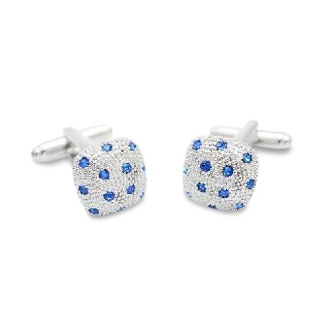 Blue Crystal Pillow Cufflinks