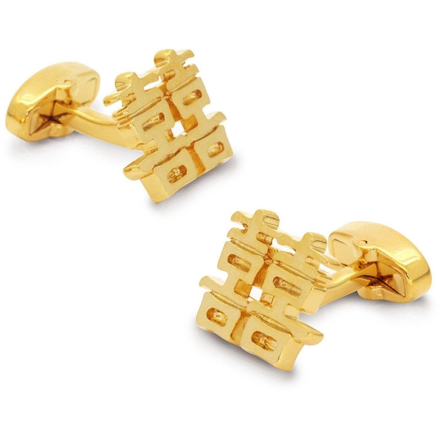 Chinese Symbol of Double Happiness Gold, Novelty Cufflinks, Cuffed.com.au, CL8567, $29.00