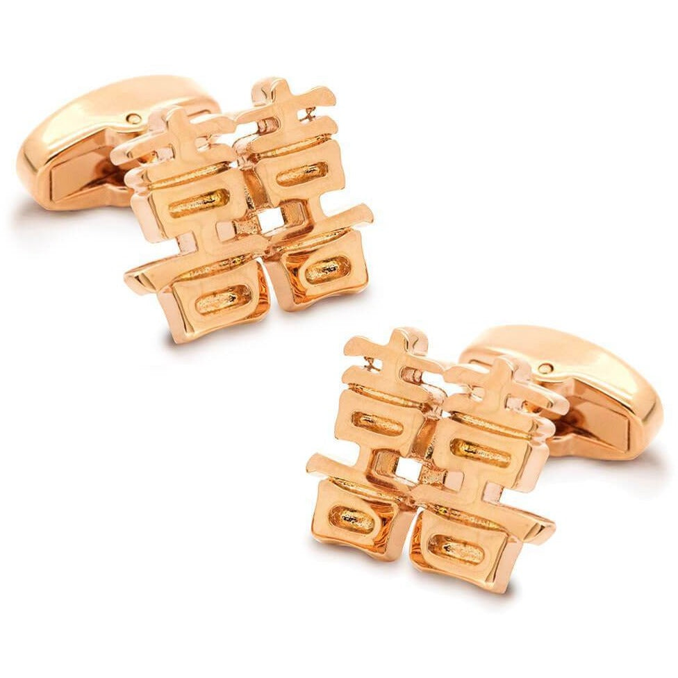 Chinese Symbol Of Double Happiness Rose Gold From Cuffed