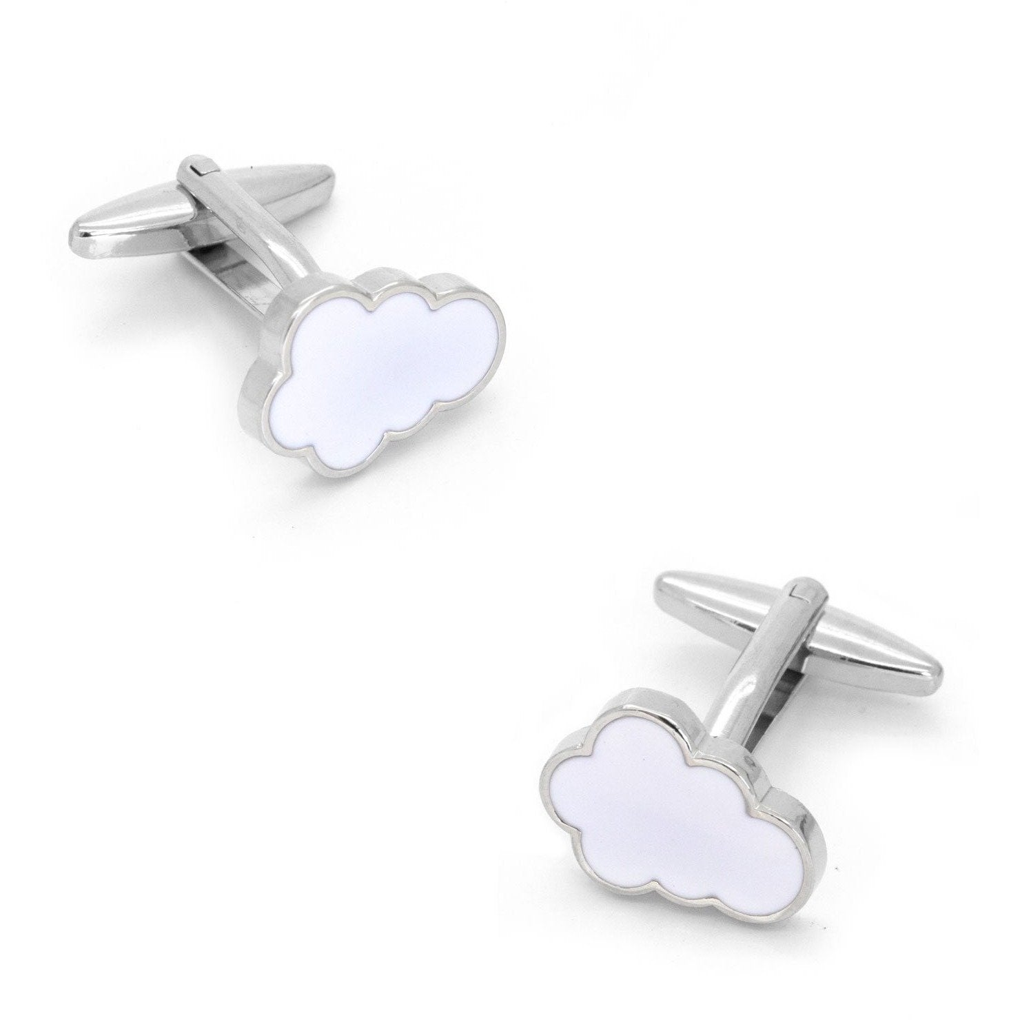 Cloud Cufflinks White, Novelty Cufflinks, Cuffed.com.au, CL8315, $29.00