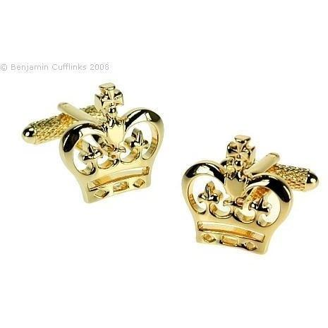 Crown Gold Cufflinks, Novelty Cufflinks, Cuffed.com.au, ZBC1567, $38.50