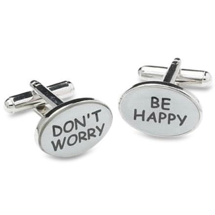 Don't Worry Be Happy Cufflinks, Novelty Cufflinks, Cuffed.com.au, ZBC1665, $38.50
