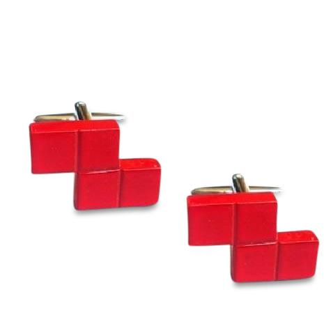 Retro Computer Blocks Red Cufflinks