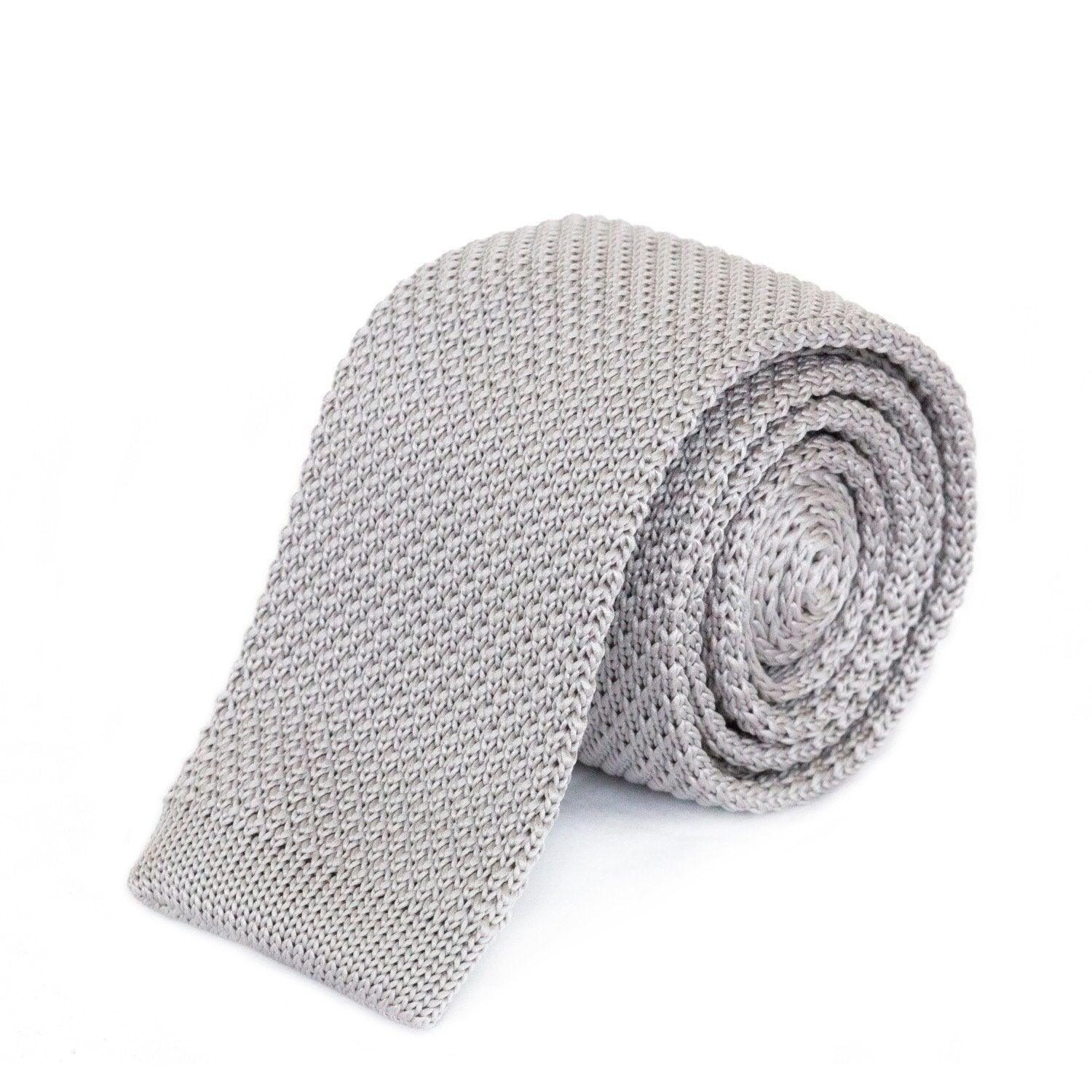 Light Grey Knit Tie Ties Cuffed.com.au
