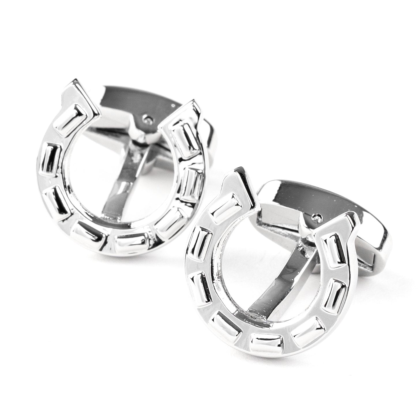 Silver Horseshoe Cufflinks, Novelty Cufflinks, Cuffed.com.au, CL6310, Animals, Gambling, Horses, Clinks Australia