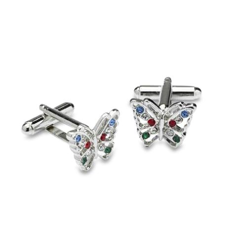 Butterfly Design Cufflinks set with Coloured Swarovski Crystals