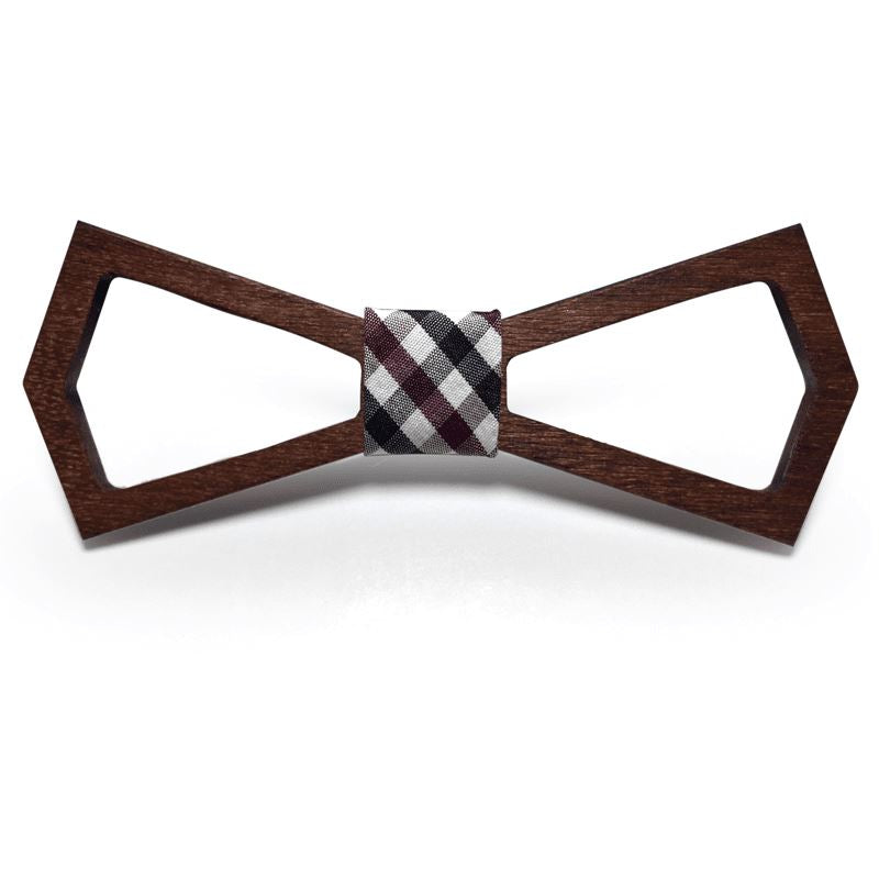 Dark Wood Outline Adult Bow Tie in Check Bow Ties Clinks Australia Dark Wood Outline Adult Bow Tie in Check