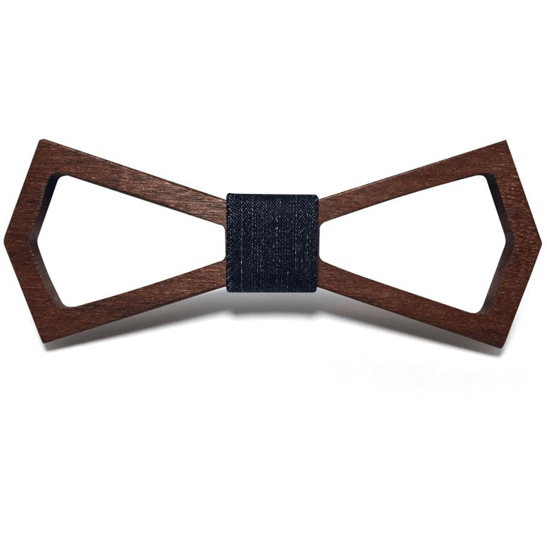 Dark Wood Outline Adult Bow Tie in Denim Bow Ties Clinks Australia Dark Wood Outline Adult Bow Tie in Denim