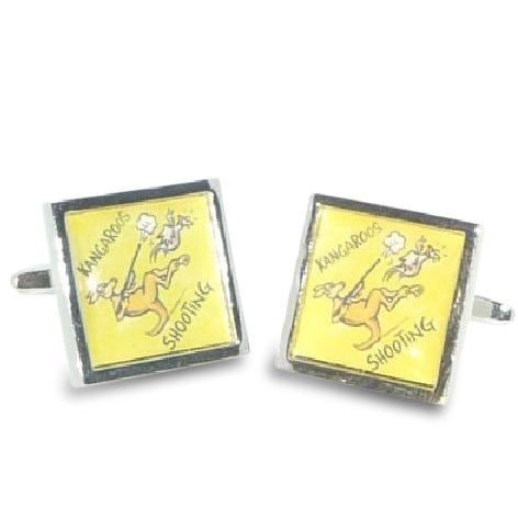 Road Sign Cufflinks: Beware Kangaroos Shooting Novelty Cufflinks Clinks Australia
