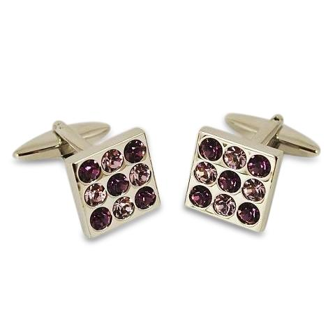Nine Purple Crystals Cufflinks Classic & Modern Cufflinks Clinks Australia Nine Purple Crystals Cufflinks