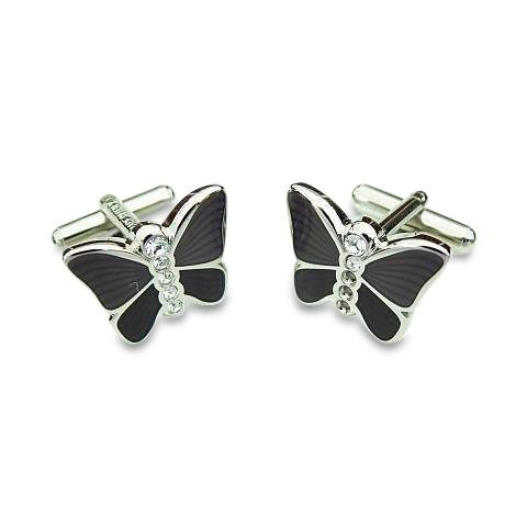 Italian Butterfly Cufflinks in Charcoal