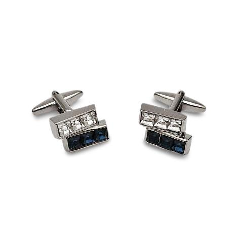 Two Bar Blue Crystals Cufflinks