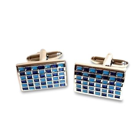 Blue Mosaic Checkerboard Cufflinks