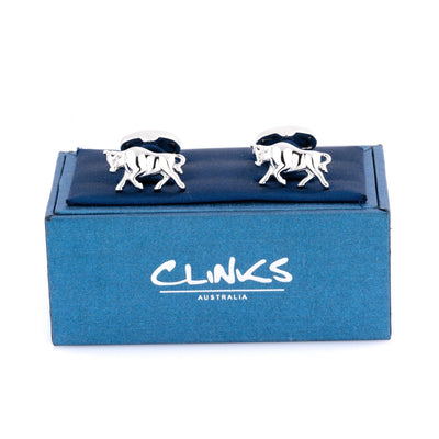 Charging Bull Silver Cufflinks Novelty Cufflinks Clinks Australia