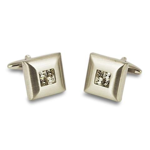 Smokey Crystal Four Square Cufflinks Classic & Modern Cufflinks Clinks Australia