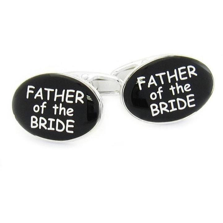 Father of the Bride Black and Silver Cufflinks, Wedding Cufflinks, Cuffed.com.au, CL9504, $29.00