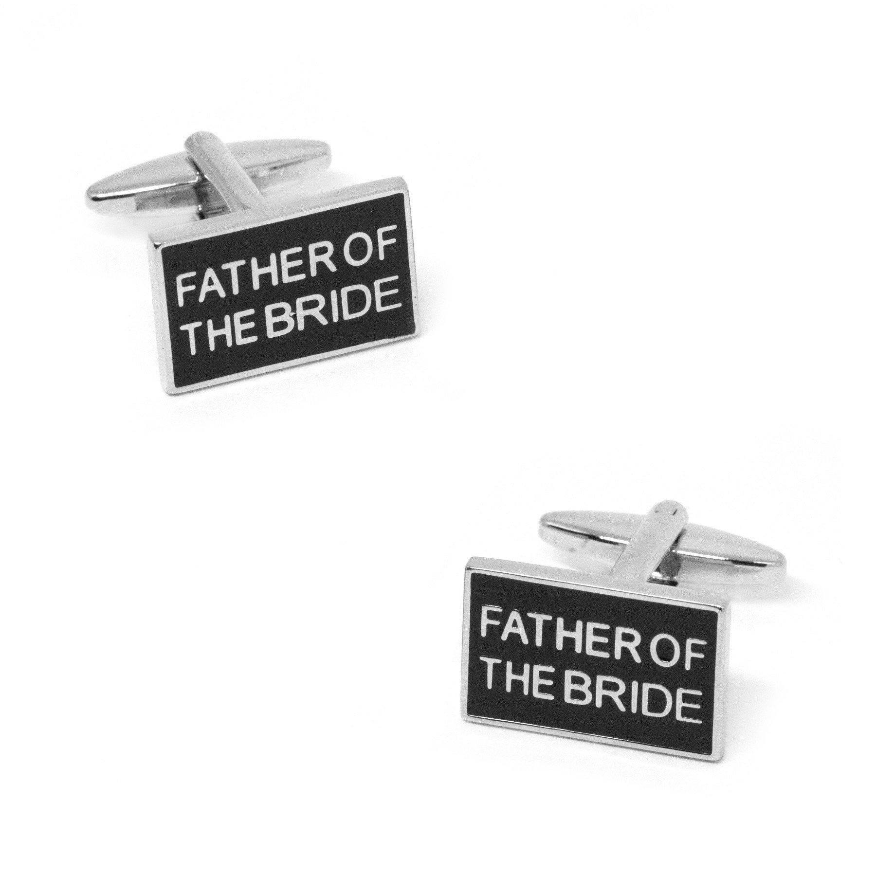 Father of the Bride Black and Silver Wedding Cufflinks, Wedding Cufflinks, Cuffed.com.au, CL9506, $29.00