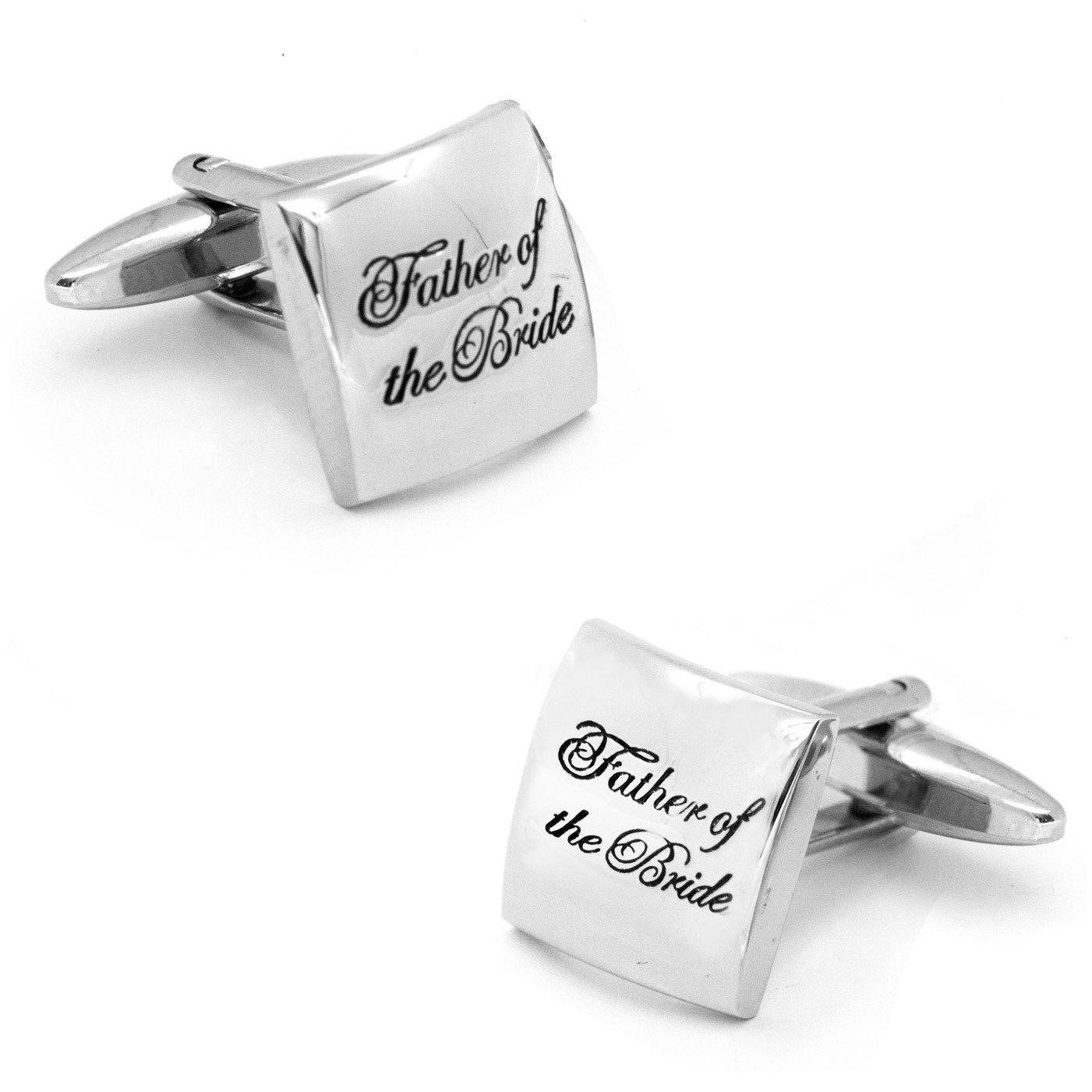 Father of the Bride Curved Silver, Wedding Cufflinks, Cuffed.com.au, CL9574, $29.00