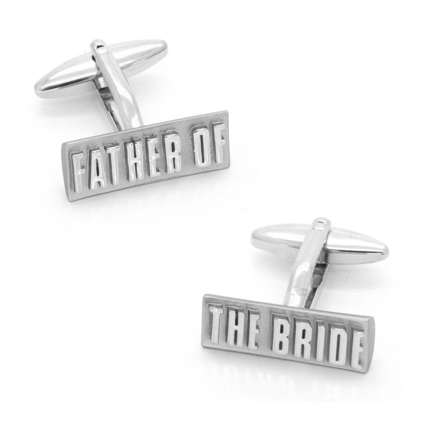 Father of the Bride Raised Lettering Cufflinks, Wedding Cufflinks, Cuffed.com.au, CL9554, $59.95
