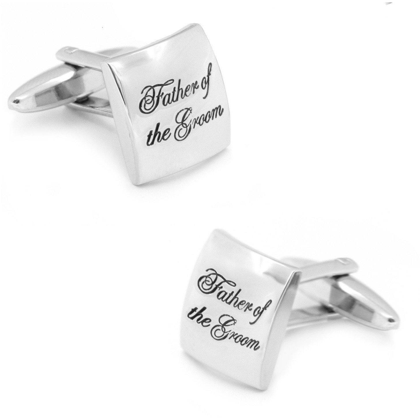 Father of the Groom Curved Silver, Wedding Cufflinks, Cuffed.com.au, CL9573, $29.00