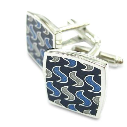 Modern Swirls Blue Cufflinks