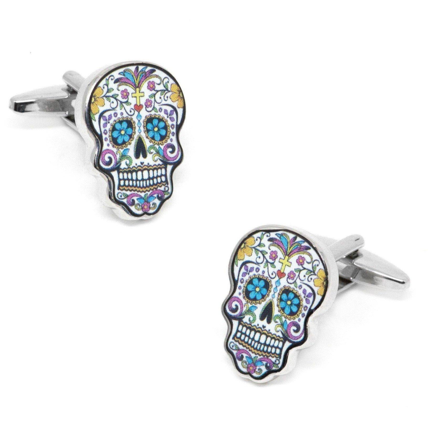 Flower Skull Calavera Cufflinks, Novelty Cufflinks, Cuffed.com.au, CL8339, $29.00