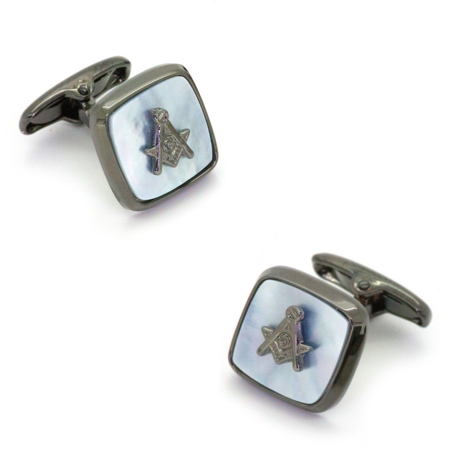 Freemason Masonic Square Gunmetal Mother of Pearl Cufflinks, Novelty Cufflinks, Cuffed.com.au, CL9321, $29.00