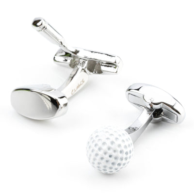 Golf Ball and Putter Cufflinks Novelty Cufflinks Clinks Australia Golf Ball and Putter Cufflinks