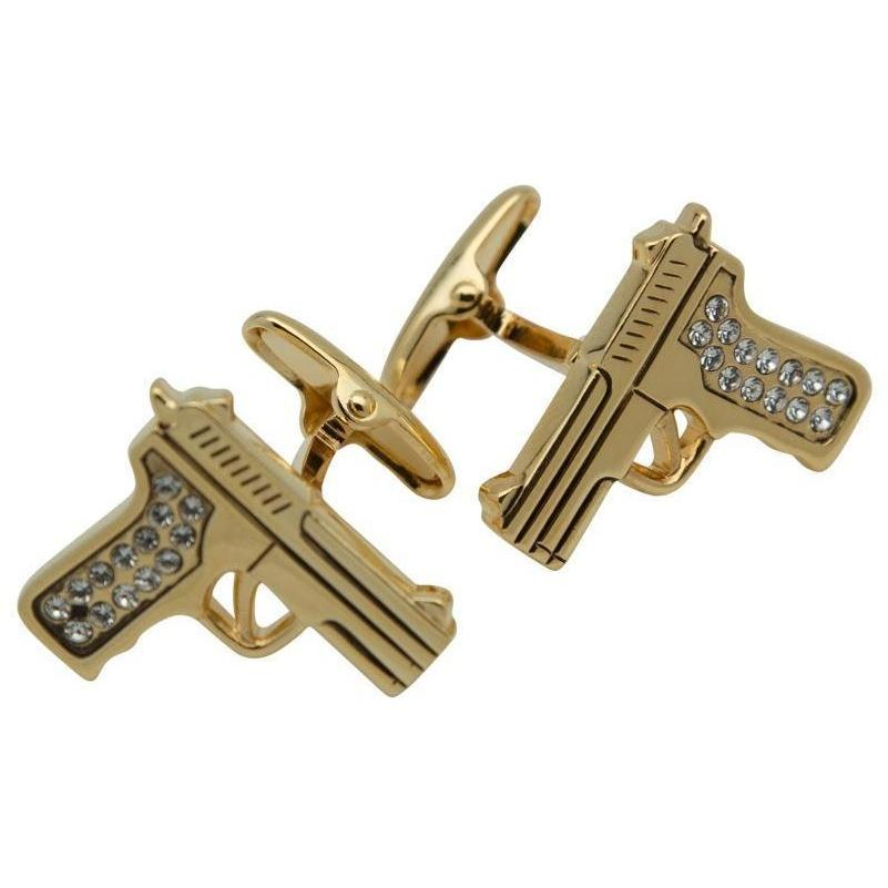Gold Crystal 9mm Hand Gun Cufflinks, Novelty Cufflinks, Cuffed.com.au, CL9219, $29.00