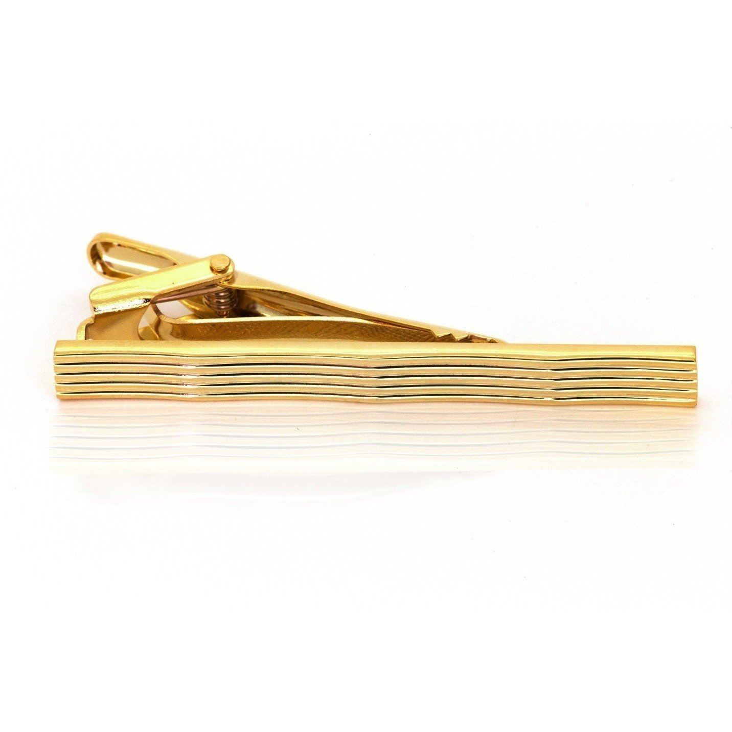 Gold Lines with Waves Tie Clip, Tie Bars, Cuffed.com.au, TC1130, $25.00