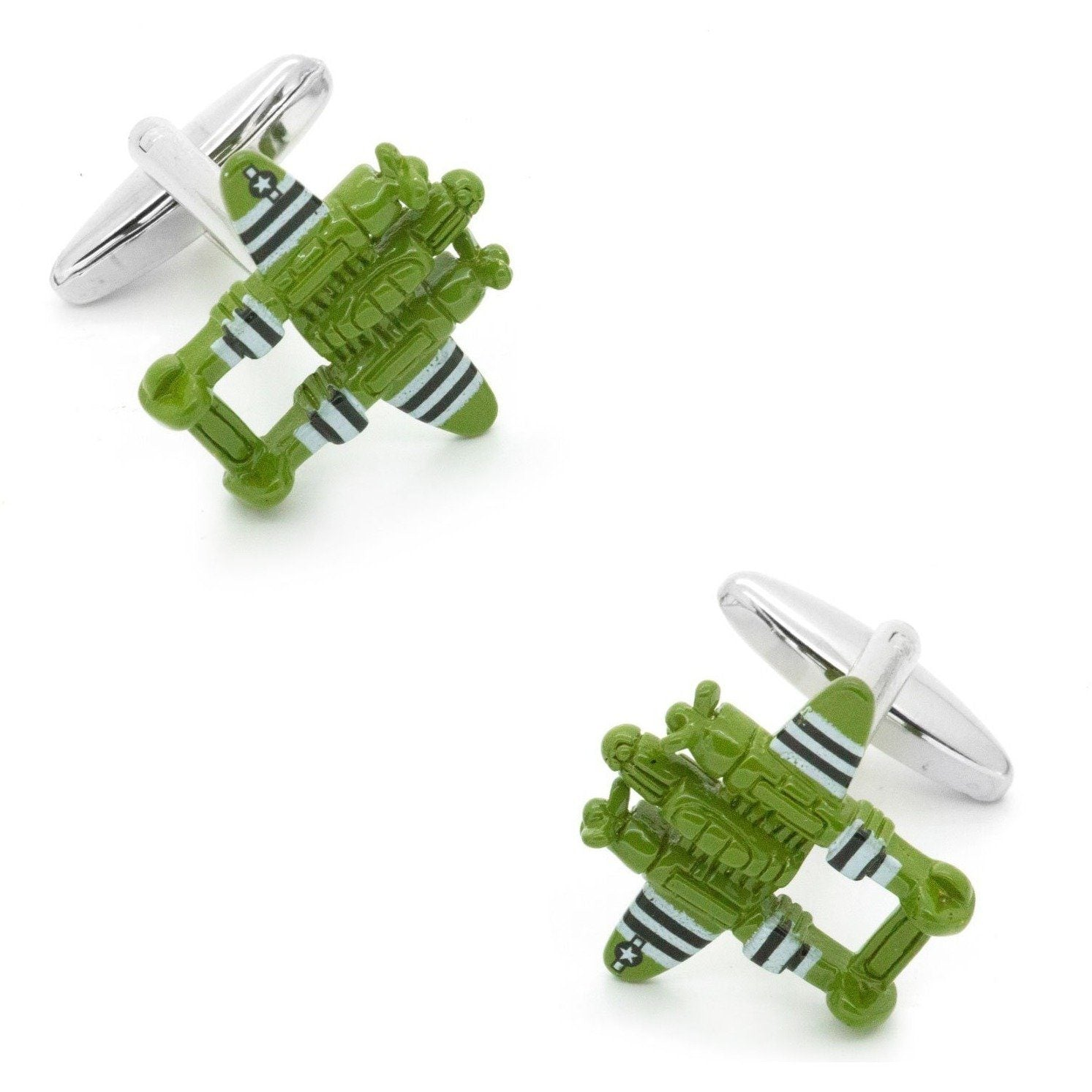 Green Fighter Jet Cufflinks, Novelty Cufflinks, Cuffed.com.au, CL6836, $29.00