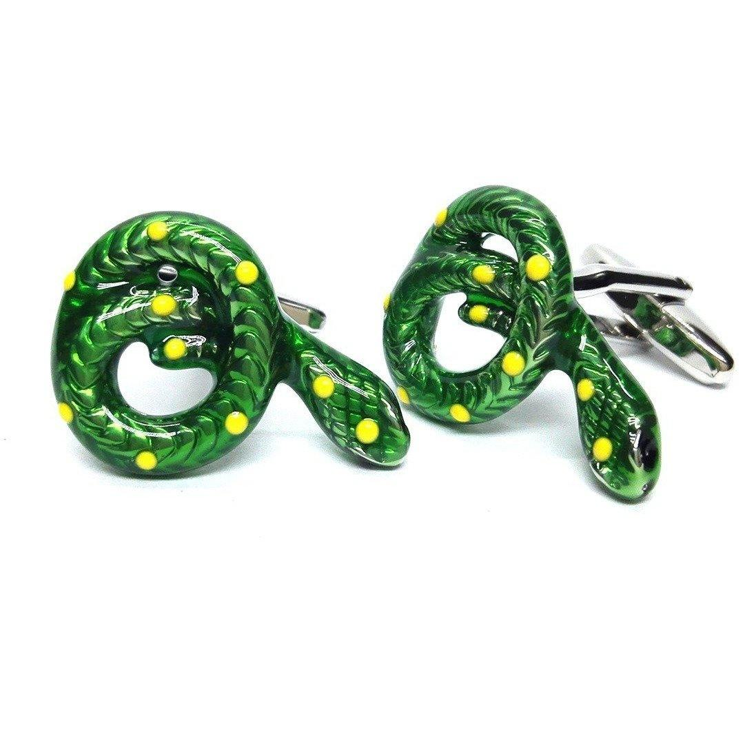 Green Snake Cufflinks Novelty Cufflinks Clinks Australia Green Snake Cufflinks