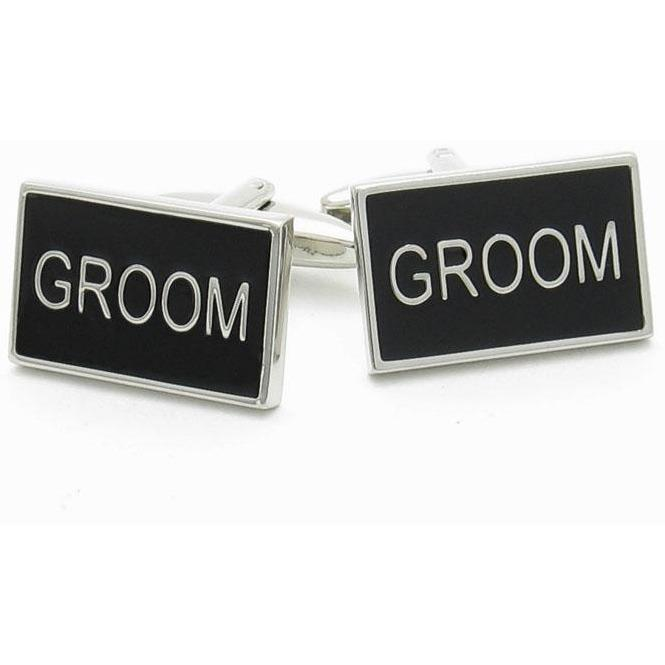 Groom Black and Silver Wedding Cufflinks, Wedding Cufflinks, Cuffed.com.au, CL9500, $29.00